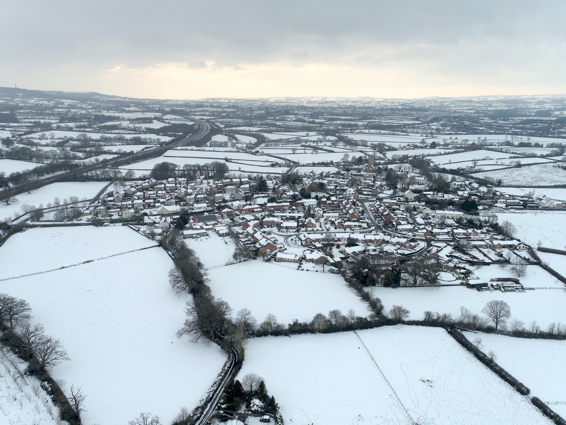 West Buckland Village in Snow