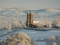 St Mary's on a cold and frosty day, viewed from the direction of Manley's Farm.